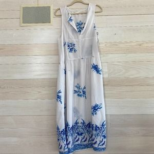 Leith Blue and White Floral Maxi Dress